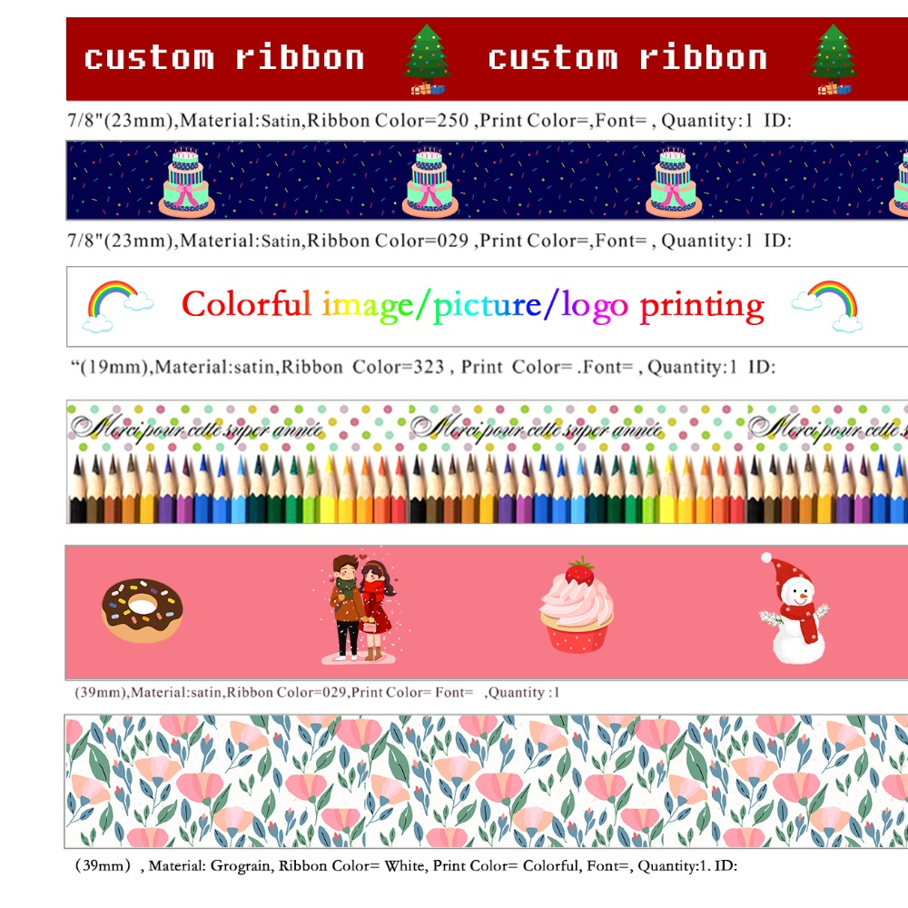 10 Yards Custom Ribbon Printed Satin Ribbon, Single Sided Printing
