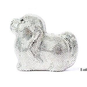Multi Цвет ручной работы Футляр box дамы кристалл собака Форма Вечерний Клатч известный бренд серый со стразами Для женщин свадебные сумка