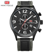 MINI FOCUS Chronograph Casual Watch Men Luxury Brand Quartz Military Sport Watch Genuine Leather Men's Wristwatch