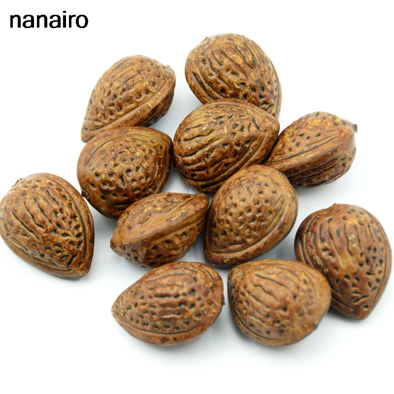 Cheap 10pcs Artificial Simulation Fruit Almond Wedding Decorations Home Christmas Gifts Cognition Toys DIY Props Accessories