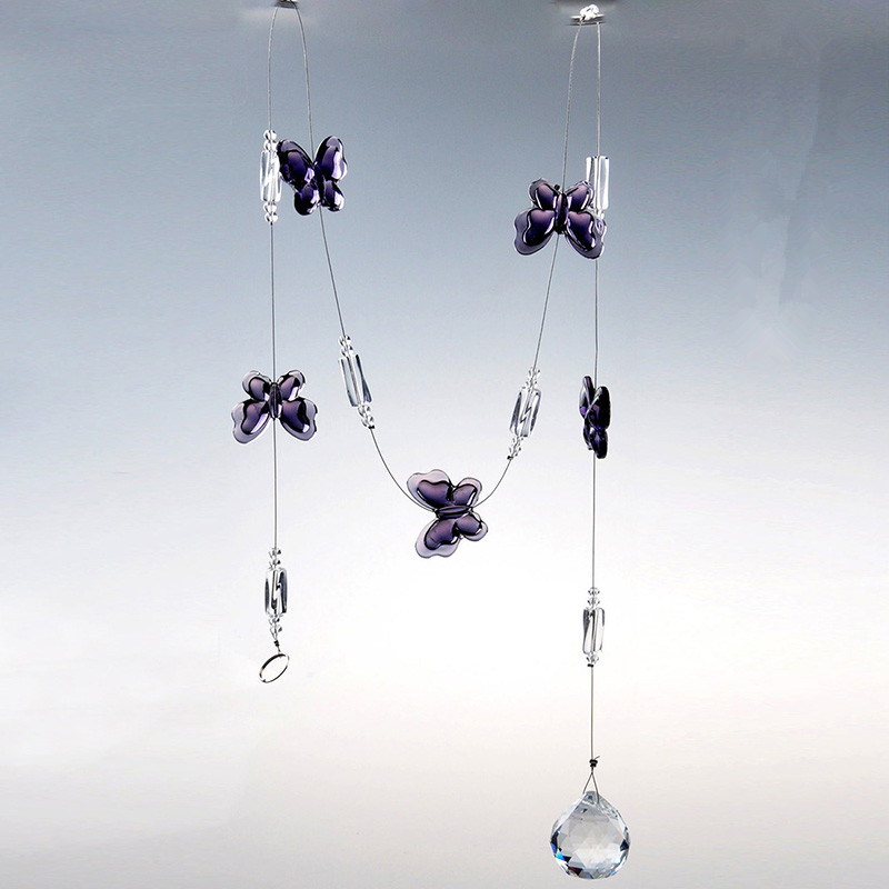 Chandelier Lighting Accessories: 39 Inch Glass Crystal Ball Purple Butterfly Chandelier