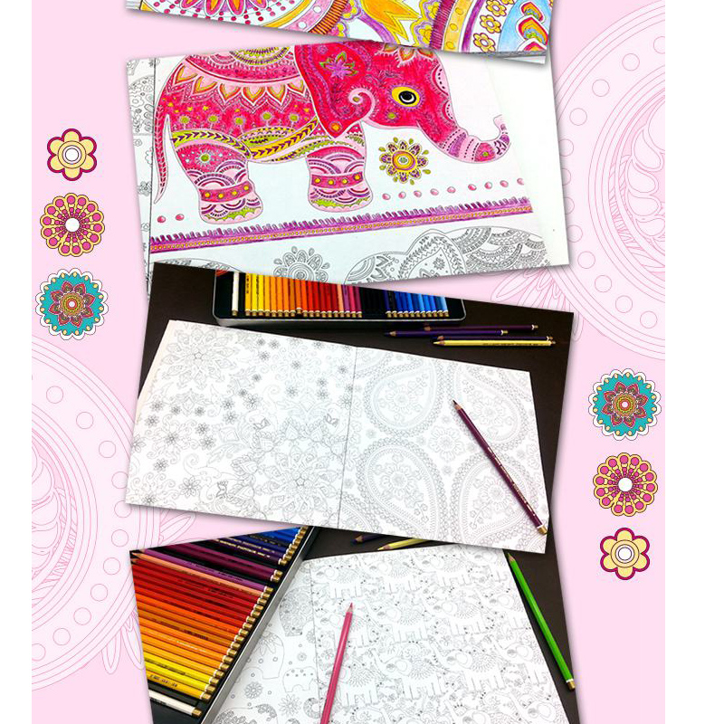 Relieve Stress For Children Adult Painting Drawing Book 74 Pages Inspiration Bollywood Kill Time Coloring In Books From Office School Supplies On