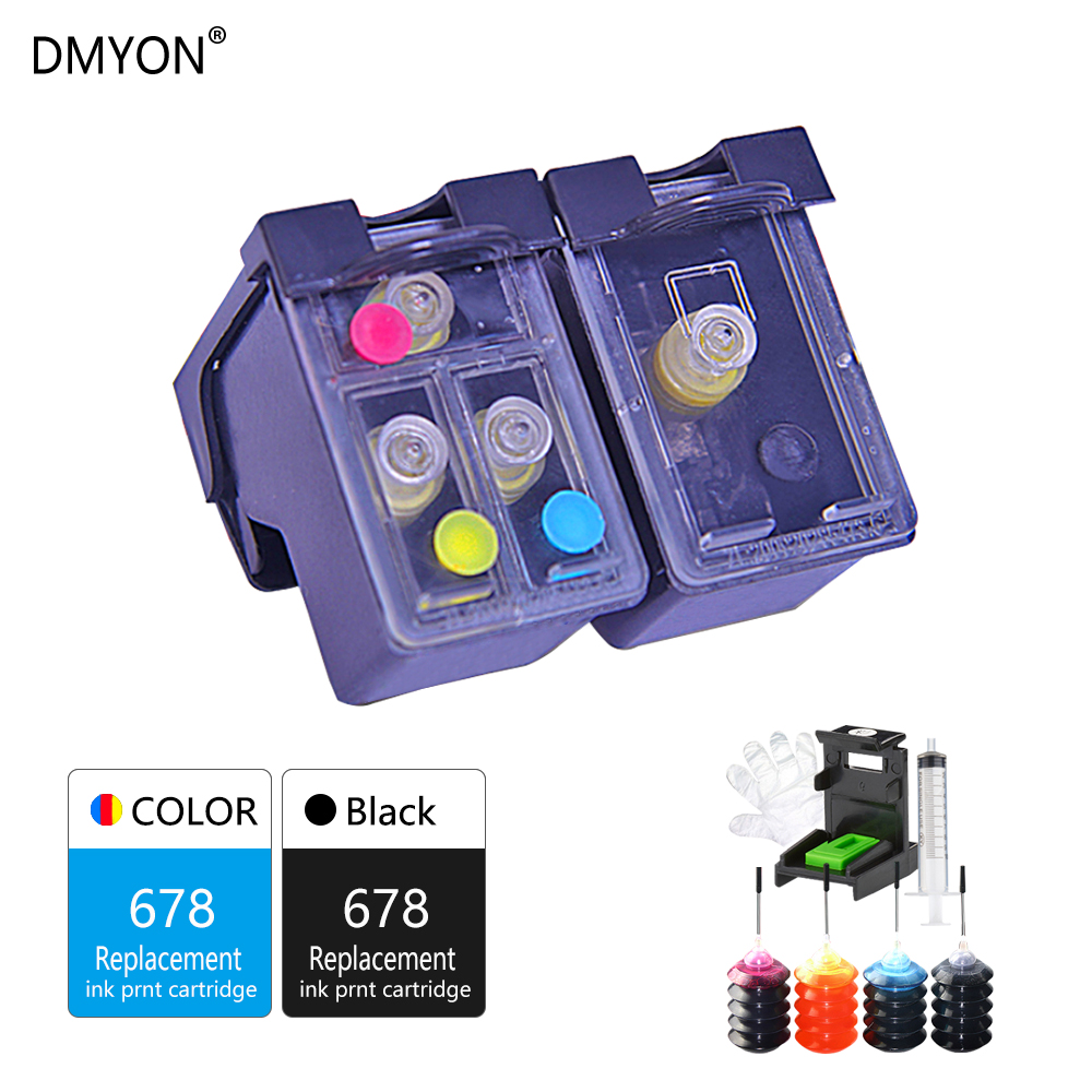 DMYON 678 Refillable Ink Cartridge Replacement for Hp 678 Diskjet 1015 1018 1515 1518 2515 2548