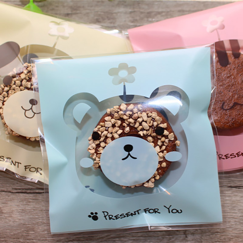 100Pcs Cartoon Animal Bear Dog Cat Gift Bag Cookie For Sweets Present Packing Favors Cake Packag Candy Party Goodie Wedding Bags