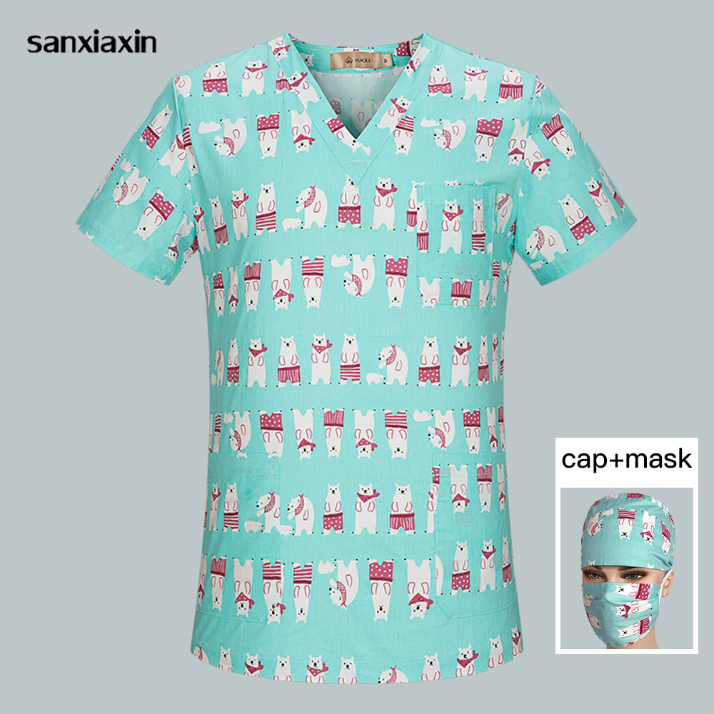 Breathable Scrub Clothes V-Neck Hospital Nurse Scrub Tops Women Cartoon Printing Surgical Medical Uniforms For Women Wholesale