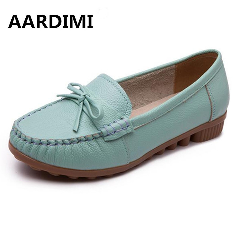New 2017 Factory Outlet Genuine Leather Women Shoes Flats Ballet Spring Solid Loafers Women Flat Shoes Casual shoes Woman women canvas shoes embroidered ballet flats women spring loafers women ballerina flat shoes vintage single mother casual shoes