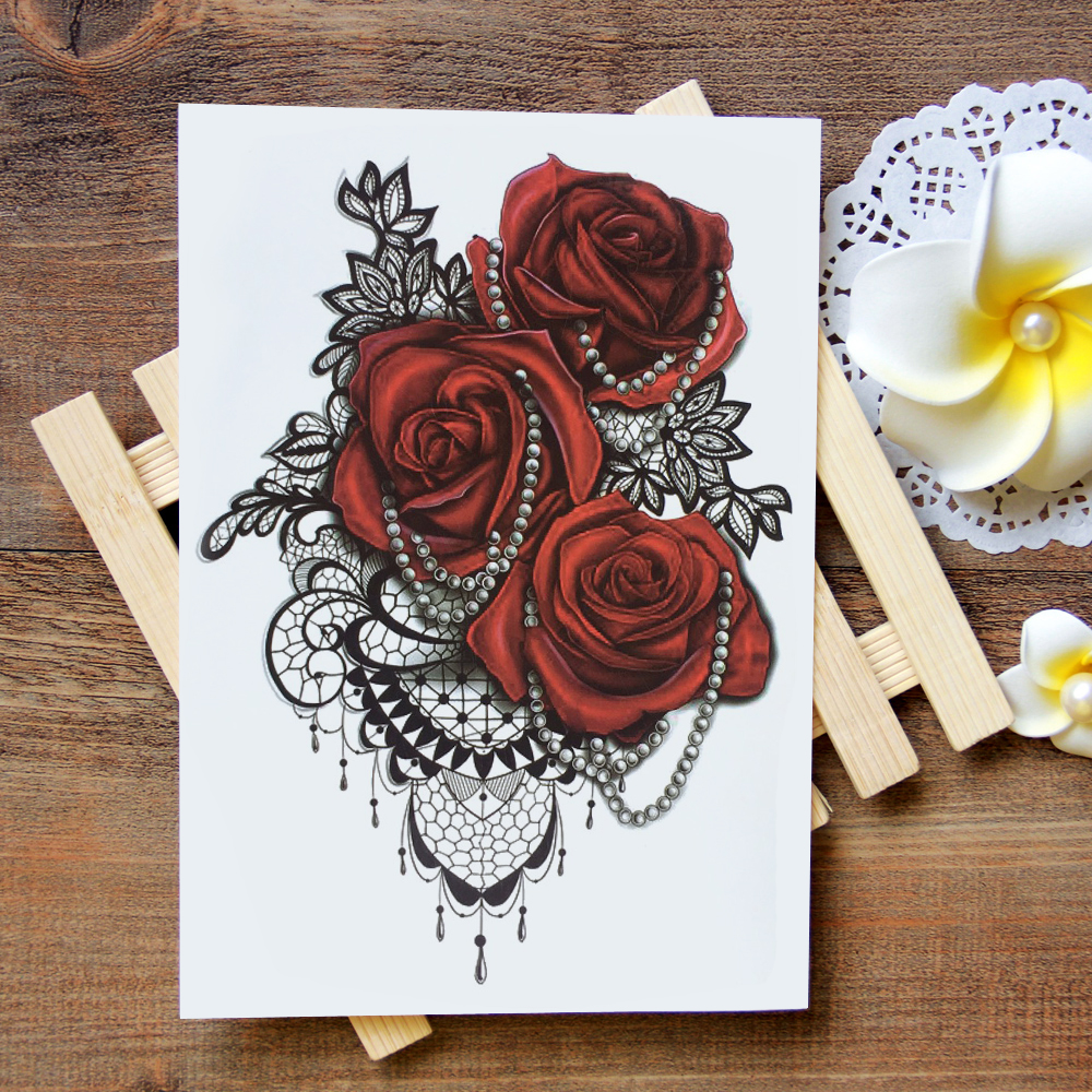 Waterproof Temporary Tattoo Sticker Lace Rose