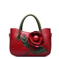 Designer Inspired Ladies Handmade Genuine Leather Tote Embossed Floral Satchel Handbags