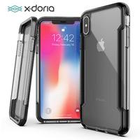 X-doria caso de telefone para iphone x xr xs max defesa clara grau militar caso testado para iphone x xr xs max capa transparente