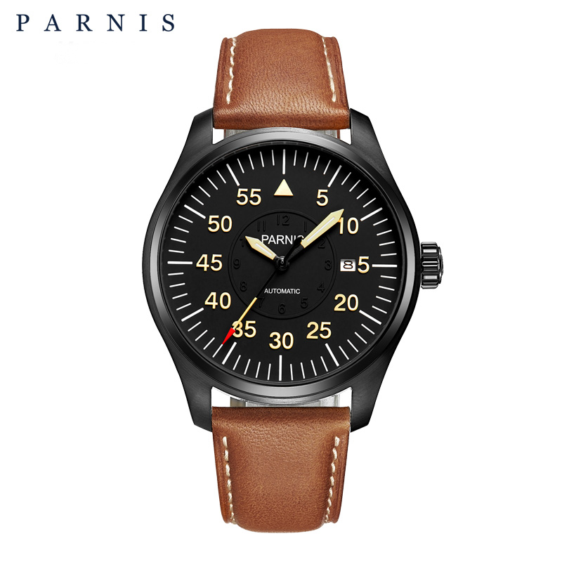 New 44mm Parnis Watch Men Automatic Mechanical Wrist Watch Stainless Steel Case Black Dial Luminous Number Military Men Watch winner dress classic men automatic mechanical watch stainless steel strap blue roman number transparent case design wrist watch