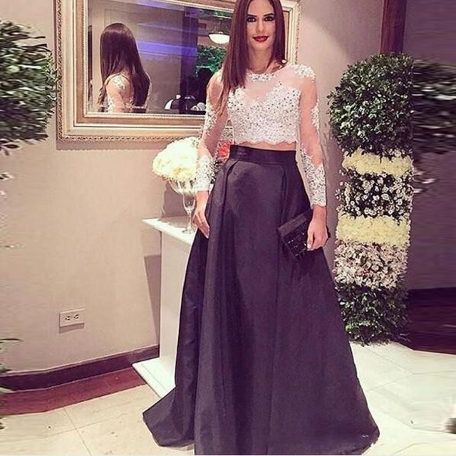 bfb42f6fbdfd96 New Arrival Two Pieces White Lace Top Evening Dresses 2017 Plus Size Black  Skirt Long Prom Party Gowns Long Sleeve Sheer Custom
