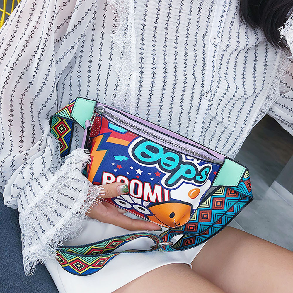 2019 Mode Brust Tasche Graffiti Gedruckt Messenger Taille Tasche Breit Schulter Strap Crossbody Mäppchen Bolsos Feminina Hochwertige Materialien