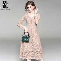 Spring Autumn Woman Dress High Quality Floral Pattern Lace Dress V Neck Calf Length Fashion Sweet