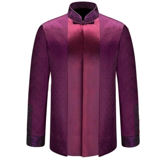Uomo abbigliamento tradizionale cinese stand collare maniche lunghe di seta cinese  tradizionale degli uomini vestiti giacca cbb867cf833