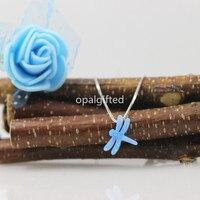 In Voorraad! Hot Koop Fancy Lab Gemaakt 11*13mm Synthetische Opal dragonfly Hanger Sterling 925 Zilveren Ketting voor Trouwjurken