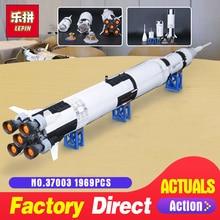 Лепин 37003 apollo saturn v Совместимость с LegoINGlys 21309 автомобиль ракеты Кирпичи Модель Строительство наборы Конструкторы игрушка Рождественский подарок