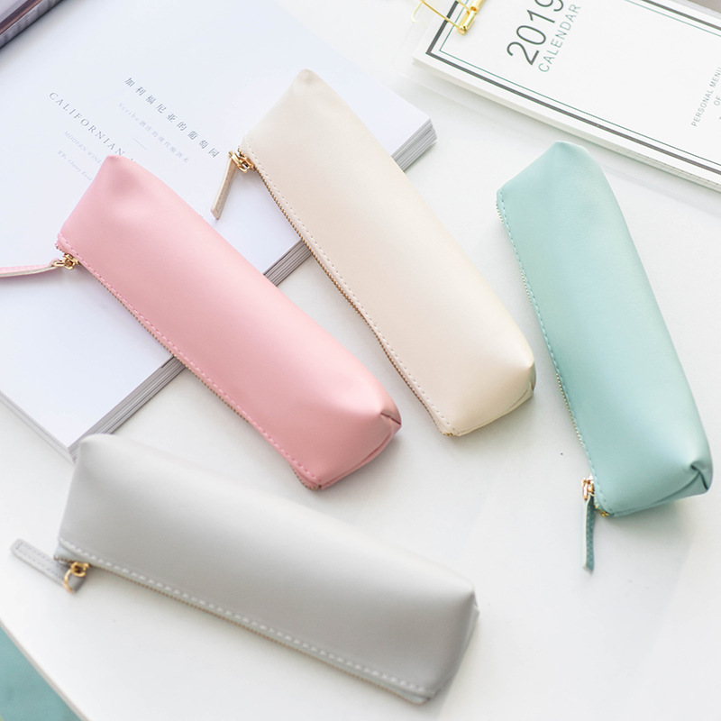 Fresh Solid Color Simple Large Capacity Pencil Case Stationery Storage Organizer Bag School Supply