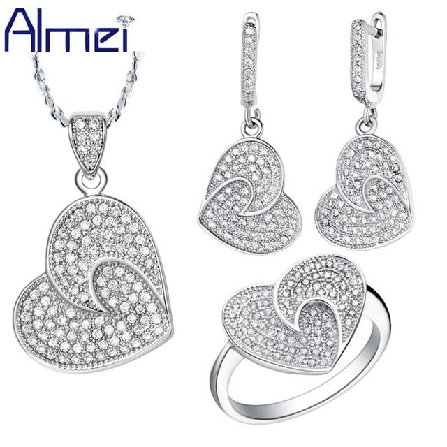 Almei Conjuntos Joyería de Las Mujeres Conjunto de Moda de Cristal Corazón Plata de ley 925 Encantos De La Boda Romántica CZ Anillo de Diamantes 2016 Nueva T002