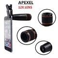 4en1 12x de Zoom Telescópico de negro Lente Óptica y Macro y Gran angular lente y lente ojo de pez con clip para el iphone samsung htc apl-12x85