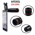 4in1 12x black Zoom Telescopic Optical Lens & Macro & Wide angle Lens & Fish Eye Lens with clip for iphone samsung HTC APL-12X85
