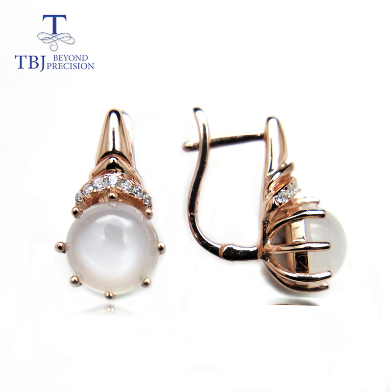 TBJ,2018 new design clasp earring with natural white moonstone special earring in 925 sterling silver rose gold color with box