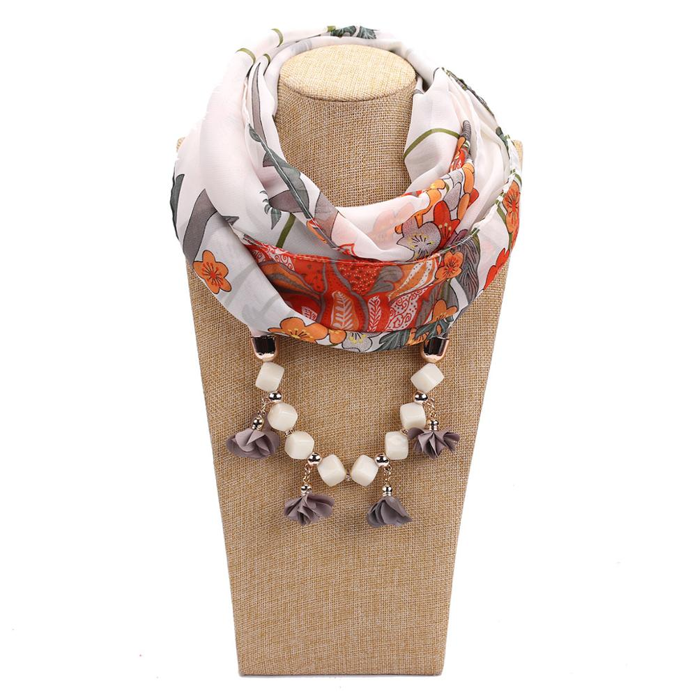 Woman's Scarf Handkerchief Chiffon Hijab Hair Scarf  Beaded Necklace Alec Resin Effect Jewelry Scarf Free Shipping