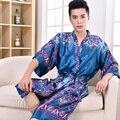 2016 Primavera Verão Homens Tradicional Chinesa de Cetim de Seda Robe Masculino Roupão Adulto Casual Loungewear Sleepwear Homem Plus Size 3XL