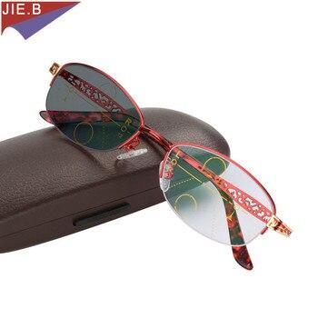 d9cb6e180a 2018 de moda de la marca de las mujeres la presbicia Multifocal Progresiva  lentes de transición gafas de sol fotocromáticos gafas de lectura