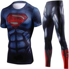 Summer New Marvel Superman Compression T Shirt Set Men Brand Tracksuit