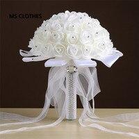 Ivory rose et blanc crystal bridal wedding bouquet bridesmaid artificial flower silk ribbon de mariage ramos.jpg 200x200