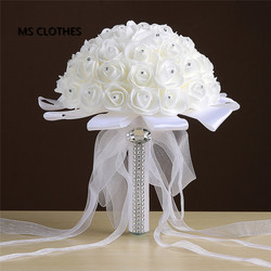 Ivory rose et blanc crystal bridal wedding bouquet bridesmaid artificial flower silk ribbon de mariage ramos.jpg 250x250