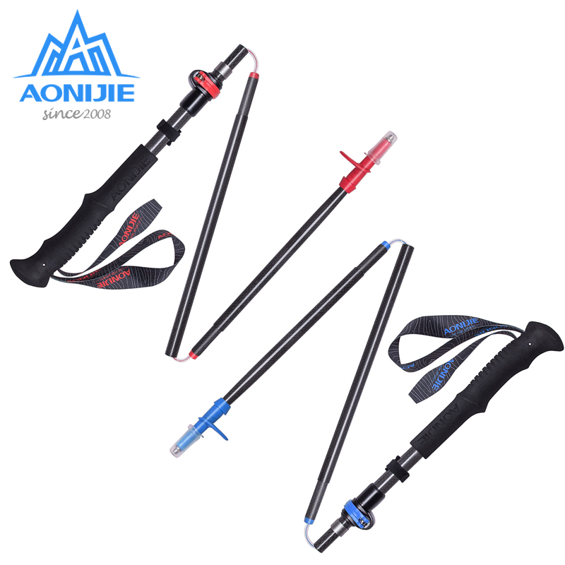 купить 1x AONIJIE Adjustable Folding Ultralight Carbon Fiber Quick Lock Trekking Poles Hiking Pole Walking Running Stick