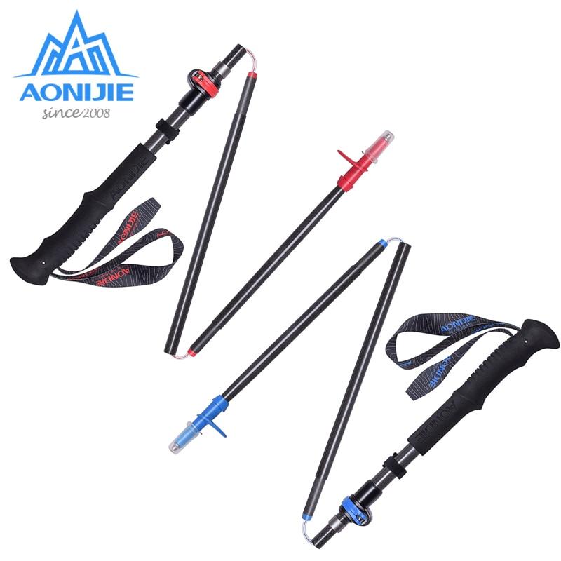 купить 1x AONIJIE Adjustable Folding Ultralight Carbon Fiber Quick Lock Trekking Poles Hiking Pole Walking Running Stick