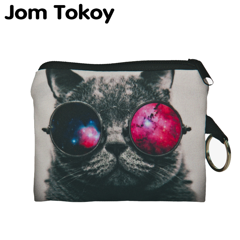 Jom Tokoy Sunglasses Cat Mini Wallet 2017 Fashion Prints Women Purse Holder Small Zipper Coin Purse Female Money Bags flamingo beach mini square wallet 2017 who cares fashion prints women purse holder small zipper coin purse female money bags