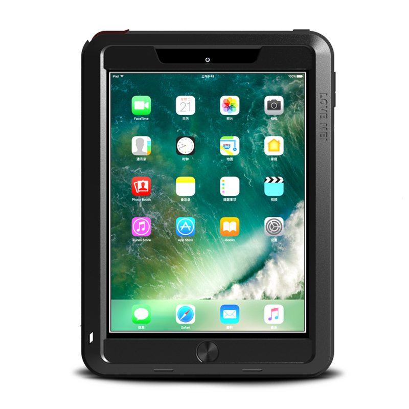 Love Mei Metal Armor Case for IPad 9 7 Inch 2017 Aluminum Metal Silicon Powerful Shockproof