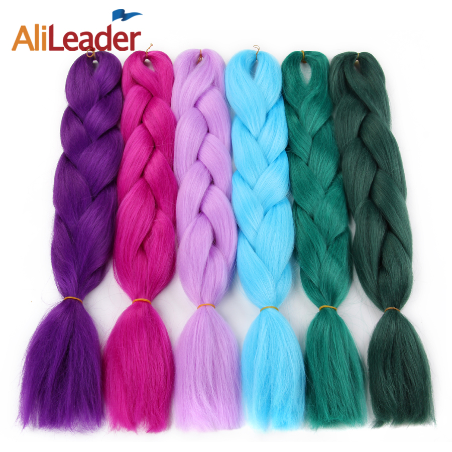 Hair Braids Alileader Ombre Kanekalon Hair For Jumbo Braids Pink Blue Silver Purple Grey Synthetic Braiding Hair 47 Colours 24 100g/pc And To Have A Long Life. Hair Extensions & Wigs