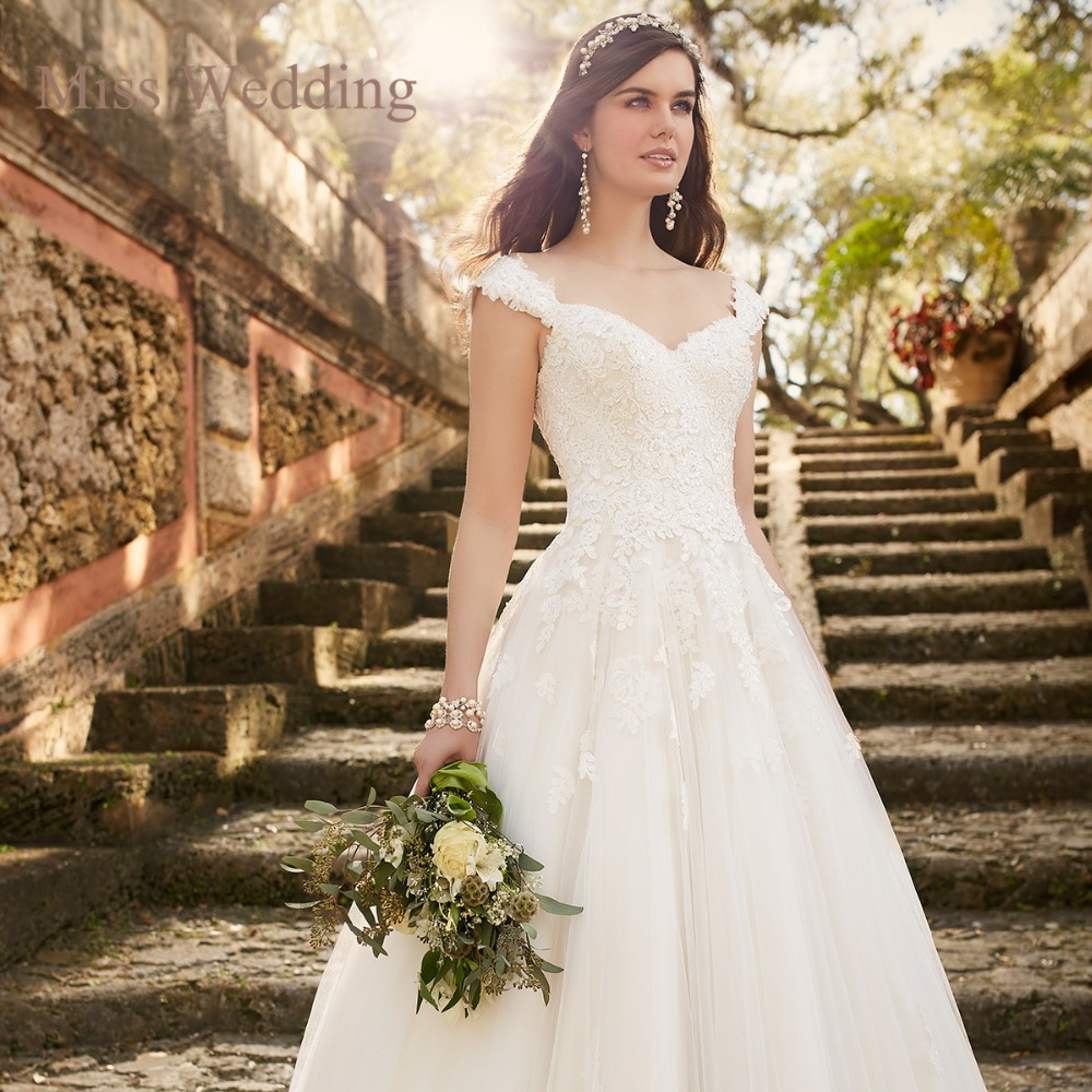 Romantic Princess Cap Sleeve Lace Wedding Dress Lovely Ball Gown ...