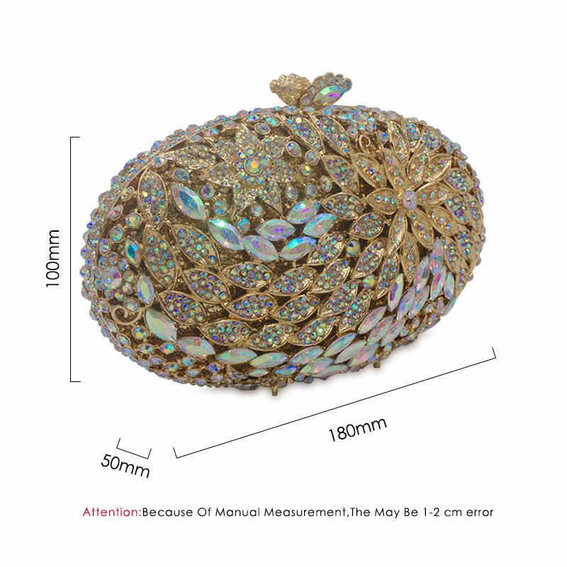 Chaliwini グリッタークリスタル女性金属クラッチ花ミノディエールハンドバッグ財布ダイヤモンドイブニングウェディングカクテルクラッチバッグ