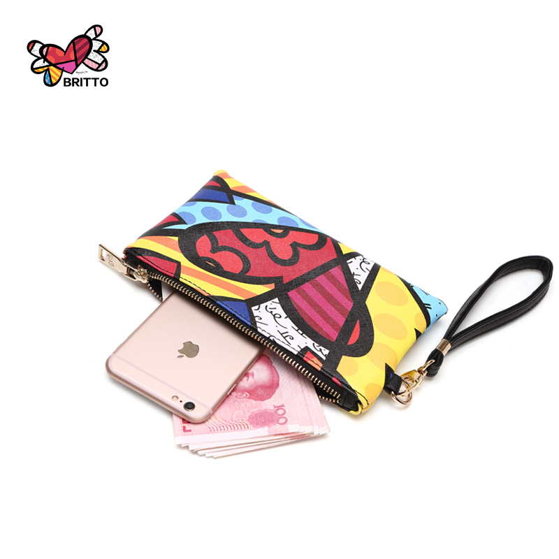 Purchase BRITTO PU Coin Purse For iphone 6S Plus & Credit Card 2016 Hot Sales Casual Colored Graffiti Clutch Zipper Coin Pocket
