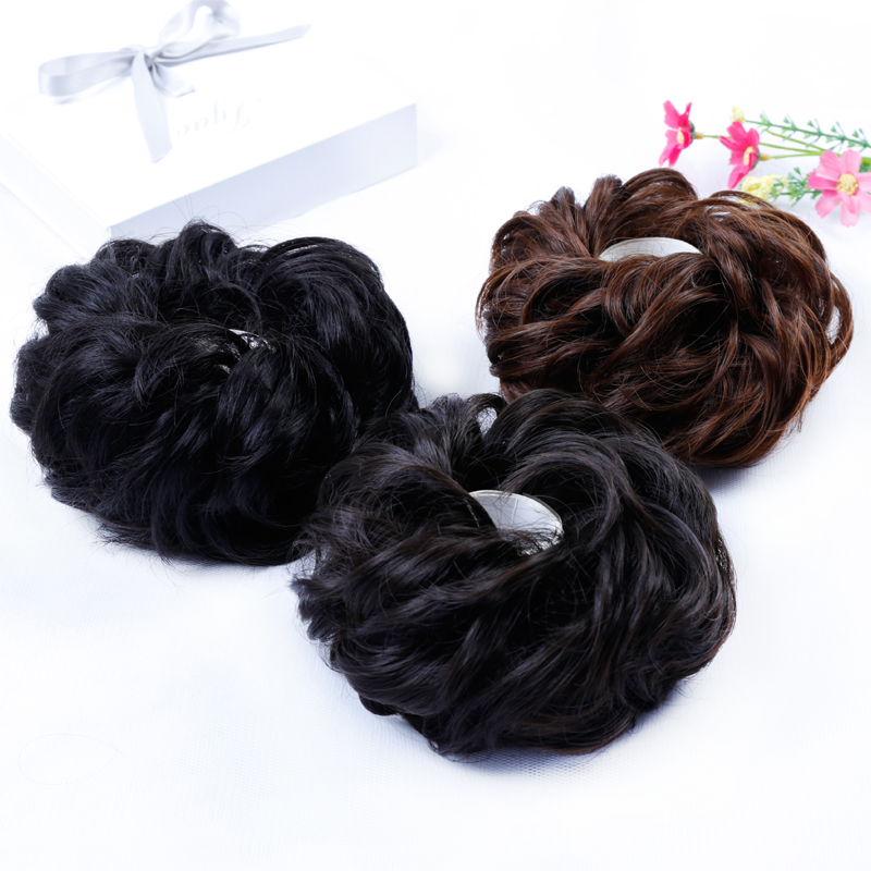 Allaosify Women Chignon With Rubber Band Hair Extension Updo Donut