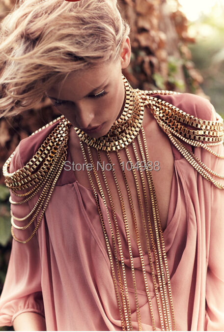 NEW ARRIVALS STYLE B516 WOMEN FASHION GOLD PUNK CHAINS NECKLACE MULTI LAYERS SHOULDER CHAINS BODY JEWELRY