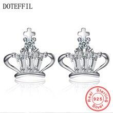 Fashion Jewelry 925 Sterling Silver Crown Earring AAA Clear Crystal Cubic Zircon Women Stud Earrings For Love Gift