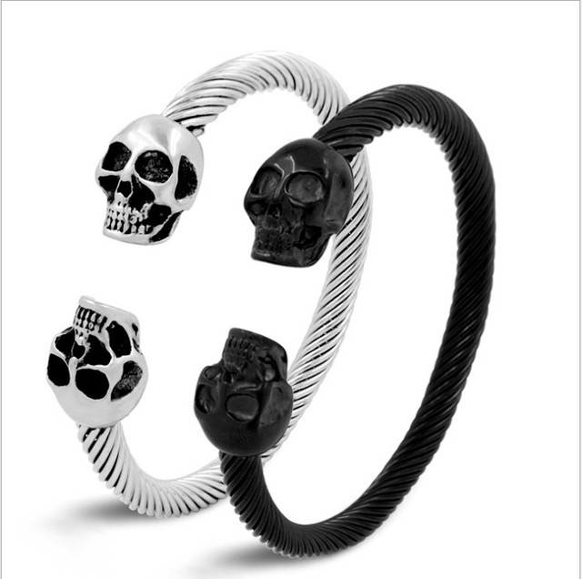 Fine simple solid solor punk style Domineering personality titanium ...