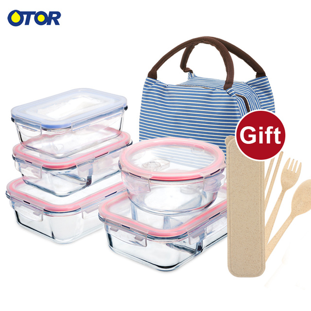 OTOR Healthy Material Lunch Box 3 Compartments Bento Boxes Microwave Dinnerware Food Storage Container Lunchbox Glass Crisper