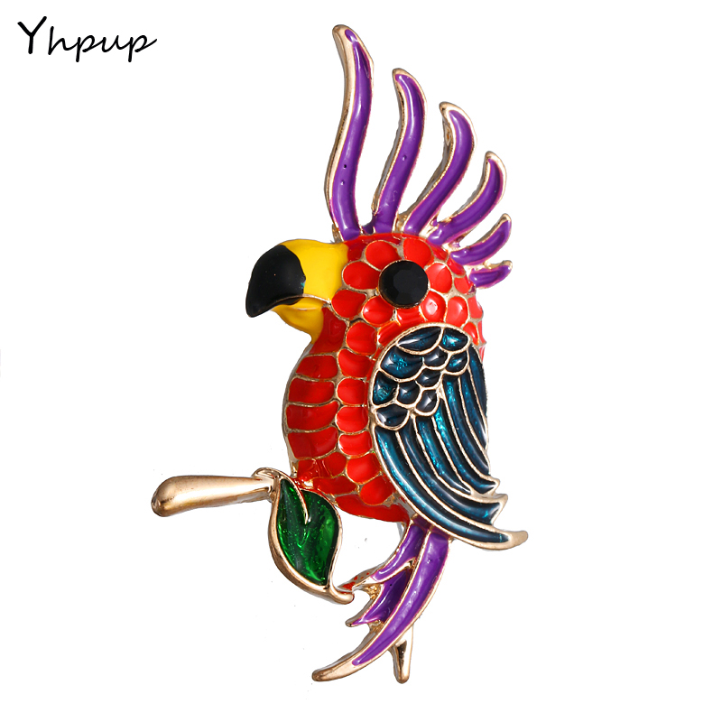 Yhpup Cute Enamel Colorful El loro Fashion Animal Brooches Pin Jeans Hat Jewelry Accessories