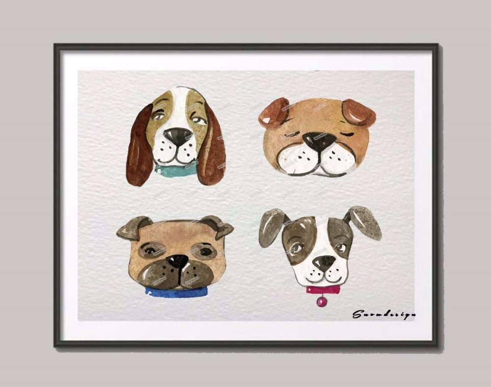 Diy Dog Wall Decor : Original watercolor dog breeds canvas painting wall art