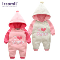 Ircomll Newborn Jumpsuit Infant Baby Boy Girl Hooded Long Sleeved Love Mama And Papa Rompers Kids