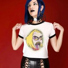 Summer Gothic Chic Simple Hip Hop Graphic Top Tees Women Plus Size White Halloween Straight Letter Print Harajuku Female T-shirt