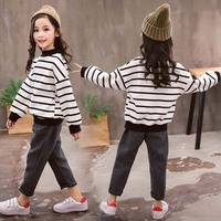 Girls Clothes Set Stripe Shirt + Solid Pants 2pcs Suits School Costumes For Girls Teenage Kids Girls Clothes 4 6 8 10 12 13 Year