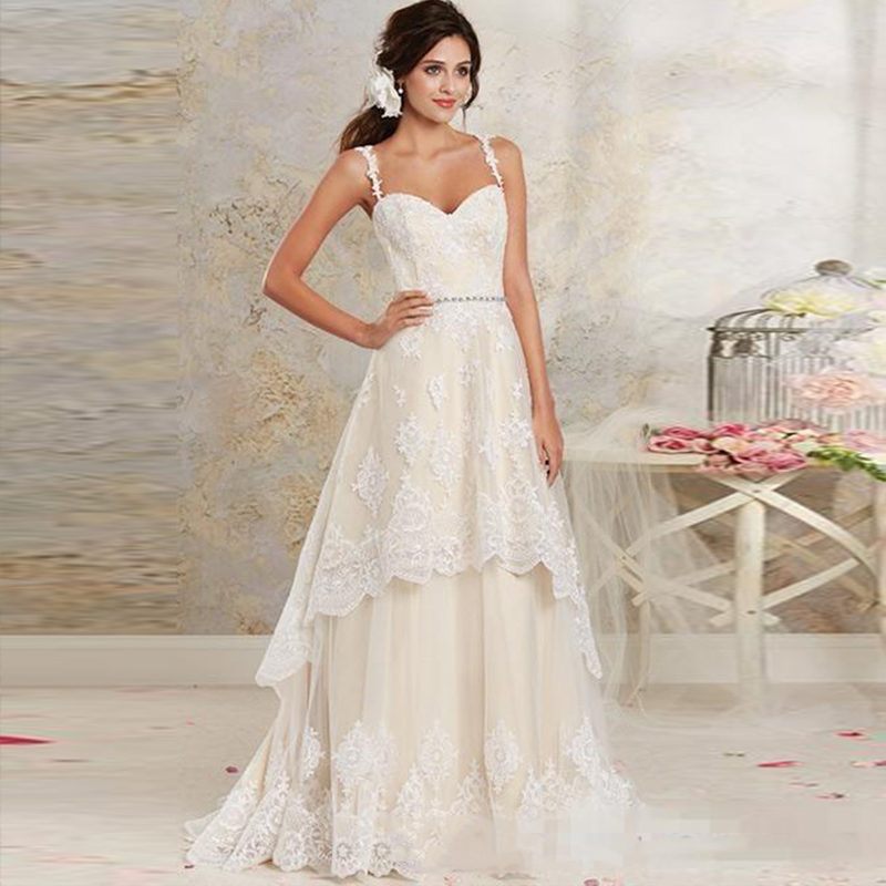 Deux pièces robes de mariée Spaghetti Vintage dentelle robes de mariée avec hi-lo court détachable jupe pays bohème robes de mariée